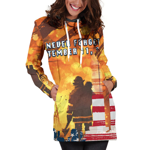 Image of 1stIceland American Firefighters Women Hoodie Dress 9.11.01 Never Forget K8 - 1st Iceland