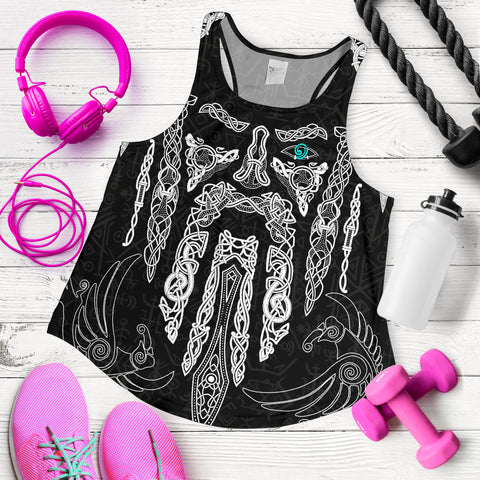 1stIceland Viking Women Racerback Tank, Odin's Eye with Raven K4