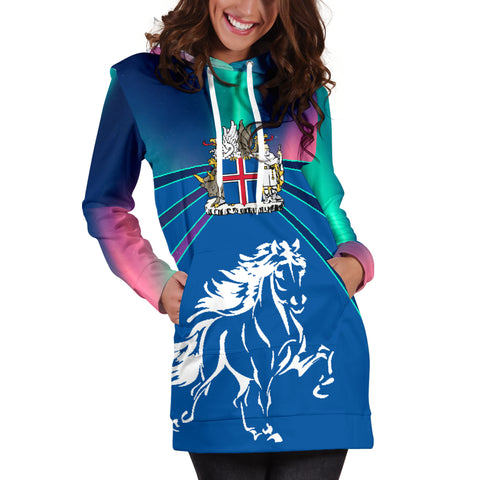 1stIceland Pullover Women Hoodie Dress, Icelandic Horse Coat Of Arms Northern Lights K4 - 1st Iceland