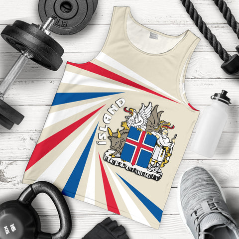 1stIceland Iceland Men Tank Top Coat Of Arms Creative Vibes - Beige K8 - 1st Iceland