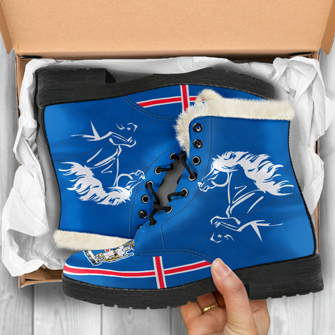 1stIceland Faux Fur Leather Boots, Icelandic Horse Flag Coat Of Arms K47 - 1st Iceland