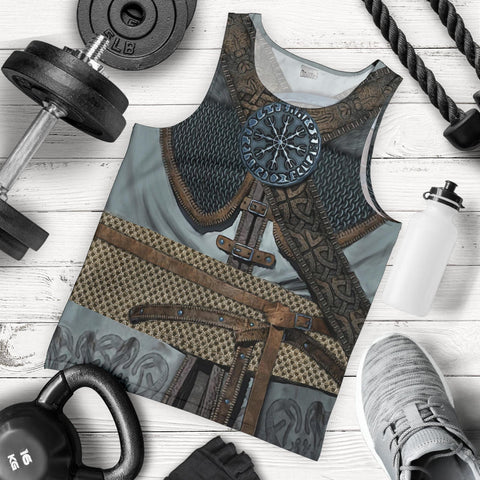 1stIceland Viking Men Tank Top, 3D Vikings Armor with Helm Of Awe Th00 - 1st Iceland