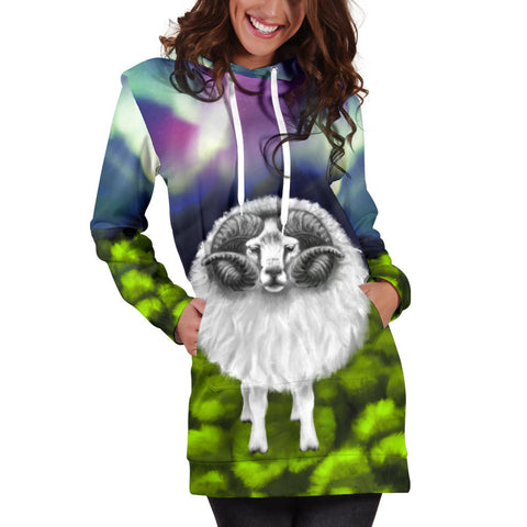 1stIceland Hoodie Dress, Icelandic Sheep Northern Lights Aurora K4 - 1st Iceland