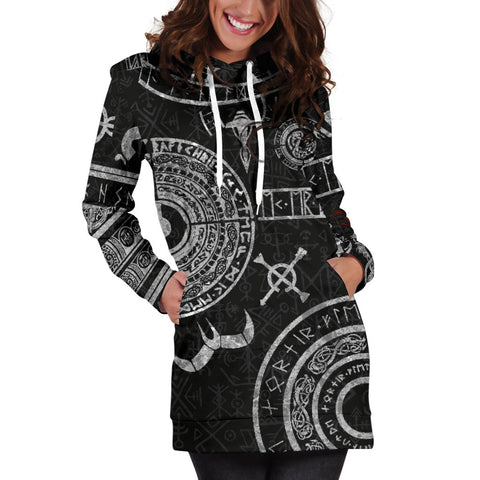 Image of 1stIceland Viking Hoodie Dress, Baldur Norse Mythology Tattoo K4 - 1st Iceland