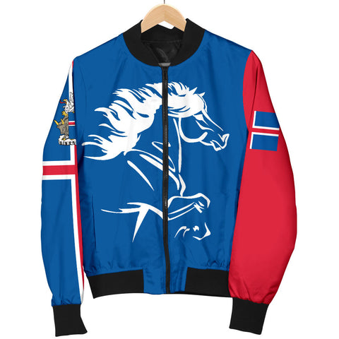 1stIceland Men Bomber Jacket, Icelandic Horse Flag Coat Of Arms K4 - 1st Iceland