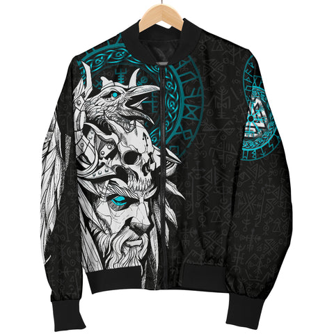Image of 1stIceland Viking Odin And Raven Turquoise Men Bomber Jacket TH12 - 1st Iceland