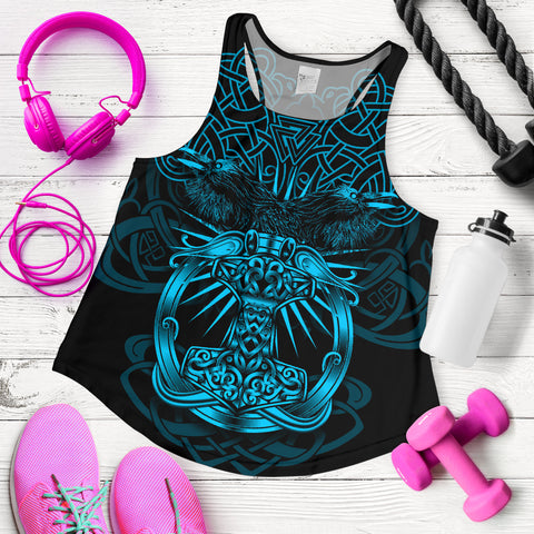 Image of 1stIceland Viking Mjolnir Women Racerback Tank Celtic Raven Version Blue K13 - 1st Iceland