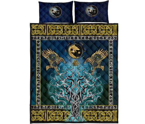 Image of 1stIceland Viking Quilt Bed Set, Tree Of Life Fenrir Skoll And Hati Raven Rune TH00 - 1st Iceland
