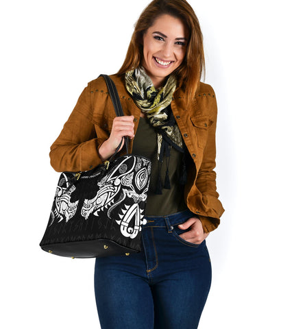 1stIceland Viking Small Leather Tote, Fenrir Tattoo The Ragnarok K4 - 1st Iceland