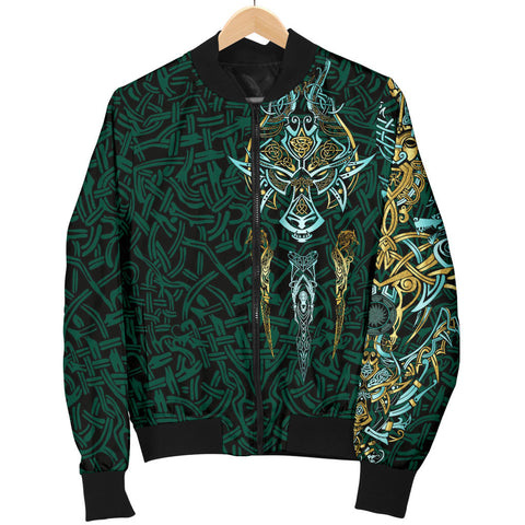 Image of 1stIceland Viking Bomber Jacket for Women, Fenrir The Vikings Wolves Th00 - 1st Iceland