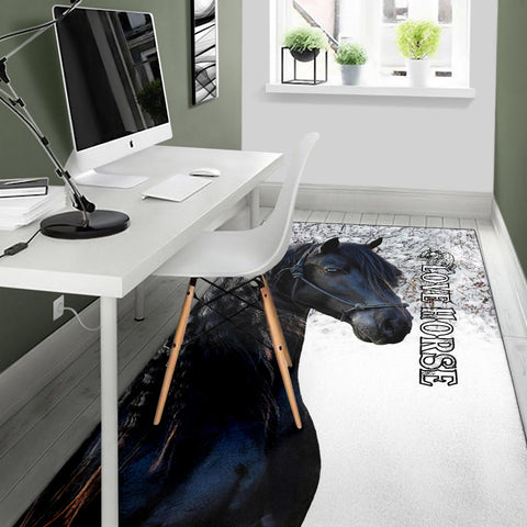 1stIceland Beautiful Friesian Horse Area Rug TH12 - 1st Iceland