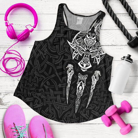 1stIceland Viking Women Racerback Tank, Fenrir The Vikings Wolves Th00 Black - 1st Iceland