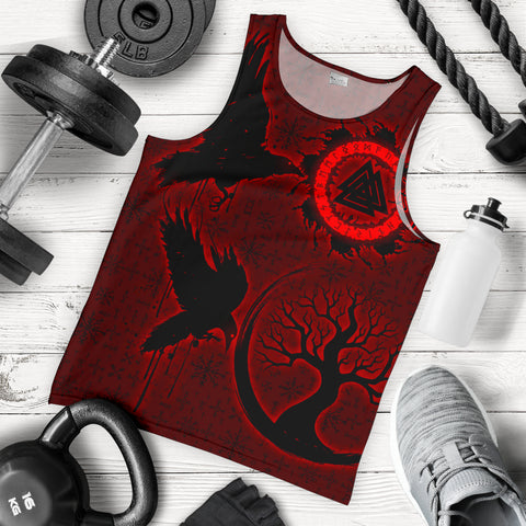 Image of 1stIceland Viking Valknut Huginn and Muninn Men Tank Top Yggdrasil, Vegvisir Helm of Awe - Red K8 - 1st Iceland