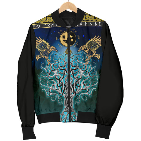 1stIceland Viking Men's Bomber Jacket, Tree Of Life Fenrir Skoll And Hati Raven Rune TH00 - 1st Iceland