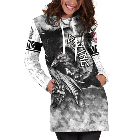 Image of 1stIceland VIking Women's Hoodie Drees Raven And Drakkar TH12 - 1st Iceland