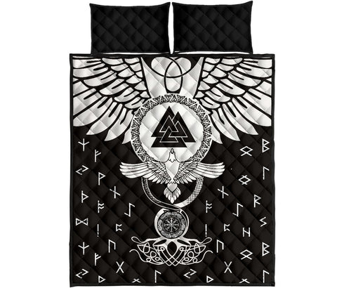 1stIceland Viking Quilt Bed Set, Flying Raven Tattoo And Valknut - 1st Iceland