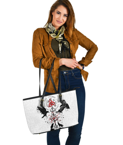 Image of 1stIceland Viking Large Leather Bag, Vegvisir Hugin and Munin with Fenrir Yggdrasil K4 - 1st Iceland