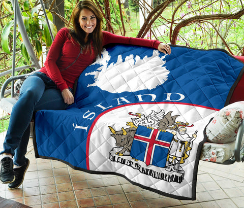 Image of 1stIceland Premium Quilt, Ísland Map Coat Of Arms  TH0 - 1st Iceland