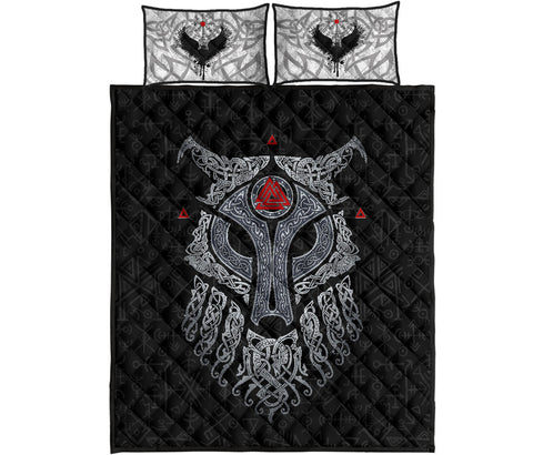 Viking Wolf and Raven Quilt Bed Set Valknut Runes K13