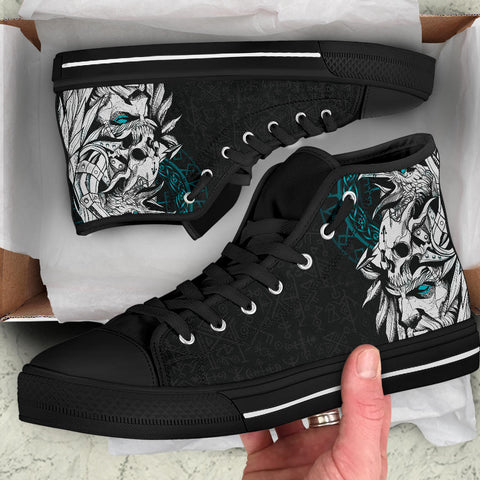 1stIceland Viking Odin And Raven Turquoise High Top Shoe TH12