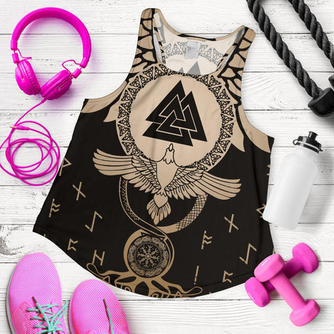 Image of 1stIceland Viking Women Racerback Tank, Flying Raven Tattoo And Valknut Gold - 1st Iceland