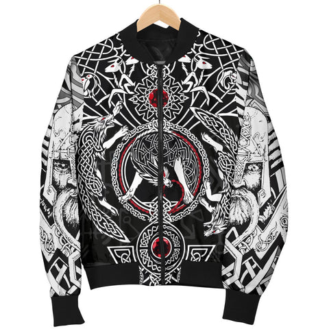 1stIceland Viking Bomber Jacket for Men, Fenrir Skoll And Hati Valknut TH00 - 1st Iceland
