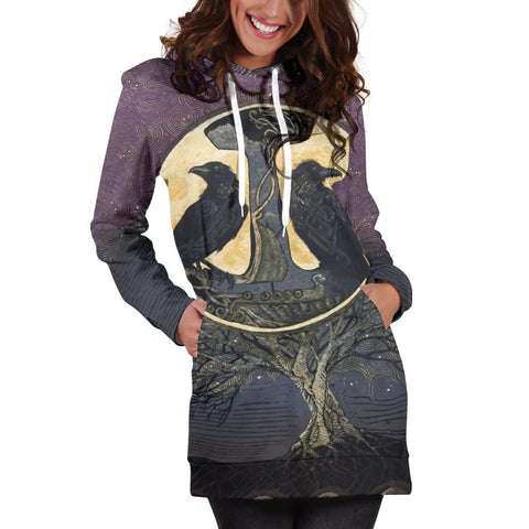1stIceland Viking Women's Hoodie Dress, Raven And Tree Of Life K5 - 1st Iceland