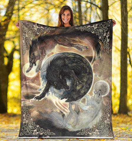 1stIceland Viking Premium Blanket, Fenrir Skoll And Hati K6 Gold - 1st Iceland