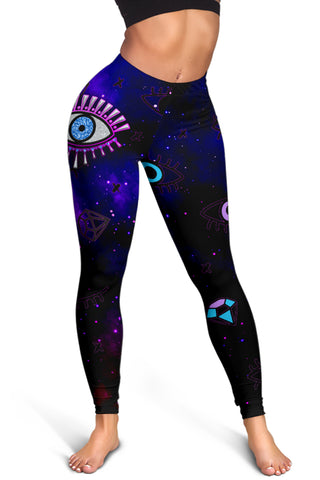 1stIceland Evil Eye Women Leggings Simple Style - Black K8 - 1st Iceland