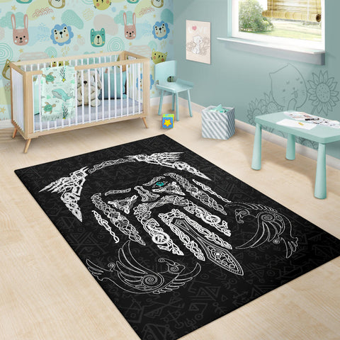 1stIceland Viking Area Rug, Odin's Eye with Raven K4