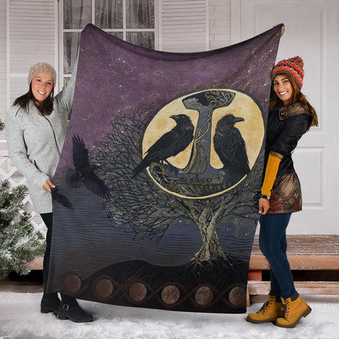 Image of 1stIceland Viking Premium Blanket, Raven And Tree Of Life K5 - 1st Iceland