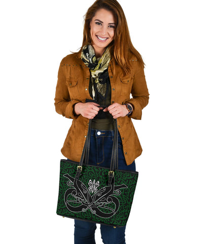 1stIceland Celtic Small Leather Tote, Celtics Dragon Tattoo Th00 - Green - 1st Iceland