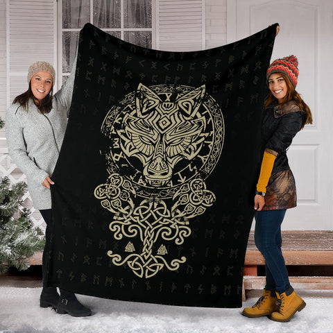 Image of 1stIceland Viking Wolf Fenrir Premium Blanket TH12 - 1st Iceland