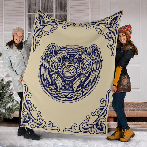 Image of 1stIceland Viking Premium Blanket , Valknut Huggin And Muninn Th00 - 1st Iceland