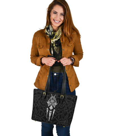 1stIceland Viking Small Leather Tote, Fenrir The Vikings Wolves Th00 Black - 1st Iceland