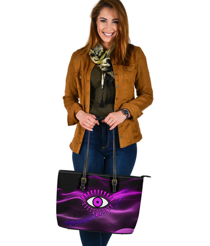 Evil Eye Large Leather Tote Original Style - Pink K8 - 1st Iceland