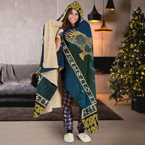 Image of 1stIceland Viking Hooded Blanket, Tree Of Life Fenrir Skoll And Hati Raven Rune TH00 - 1st Iceland