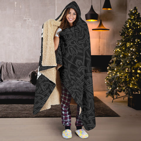 Image of 1stIceland Viking Hooded Blanket, Fenrir The Vikings Wolves Th00 Black - 1st Iceland
