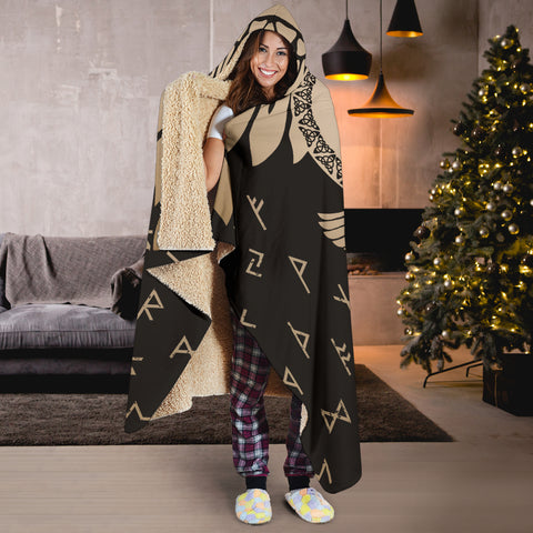 Image of 1stIceland Viking Hooded Blanket, Flying Raven Tattoo And Valknut Gold - 1st Iceland