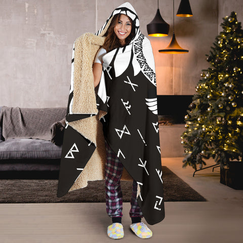 Image of 1stIceland Viking Hooded Blanket, Flying Raven Tattoo And Valknut - 1st Iceland