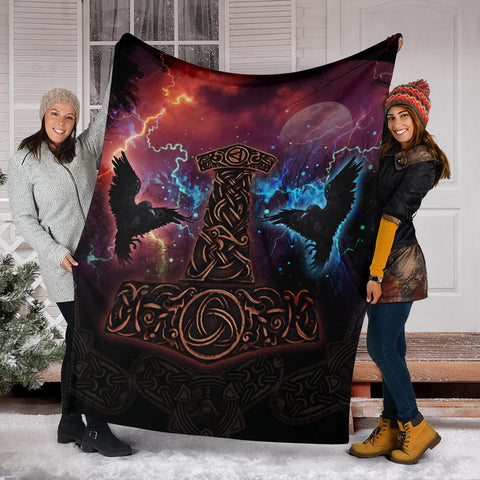 Image of 1stIceland Viking Premium Blanket, Mjolnir Huggin And Muninn - 1st Iceland