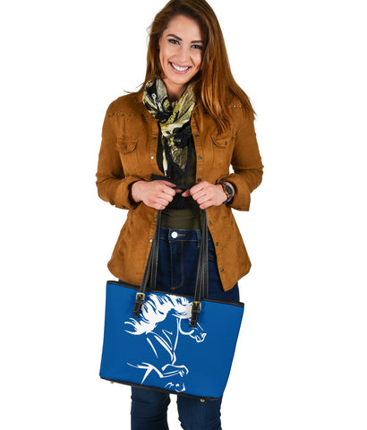 1stIceland Small Leather Tote, Icelandic Horse Coat Of Arms K4