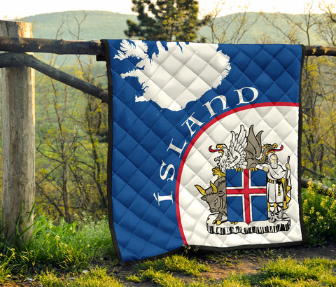 1stIceland Premium Quilt, Ísland Map Coat Of Arms  TH0 - 1st Iceland