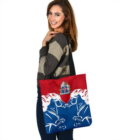 1stIceland Pullover Tote Bag, Horse Coat Of Arms Couple Style K4 - 1st Iceland