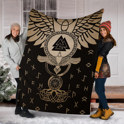 1stIceland Viking Premium Blanket, Flying Raven Tattoo And Valknut Gold - 1st Iceland