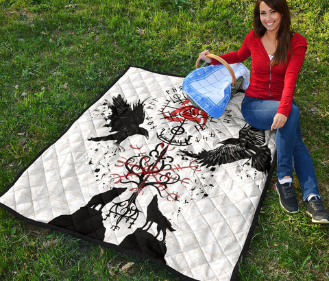 1stIceland Viking Premium Quilt, Vegvisir Hugin and Munin with Fenrir Yggdrasil K4 - 1st Iceland