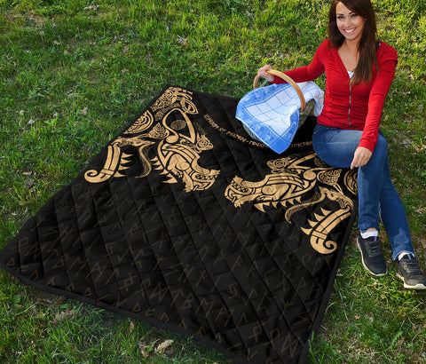 1stIceland Viking Premium Quilt, Fenrir Tattoo The Ragnarok - Gold K4 - 1st Iceland