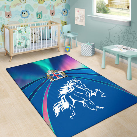 Image of 1stIceland Pullover Area Rug, Icelandic Horse Coat Of Arms Northern Lights K4 - 1st Iceland