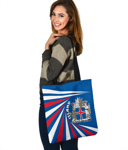 1stIceland Iceland Tote Bag Coat Of Arms Creative Vibes - Blue K8