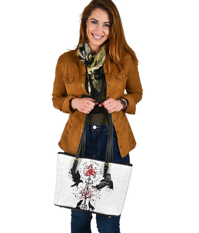Image of 1stIceland Viking Small Leather Bag, Vegvisir Hugin and Munin with Fenrir Yggdrasil K4